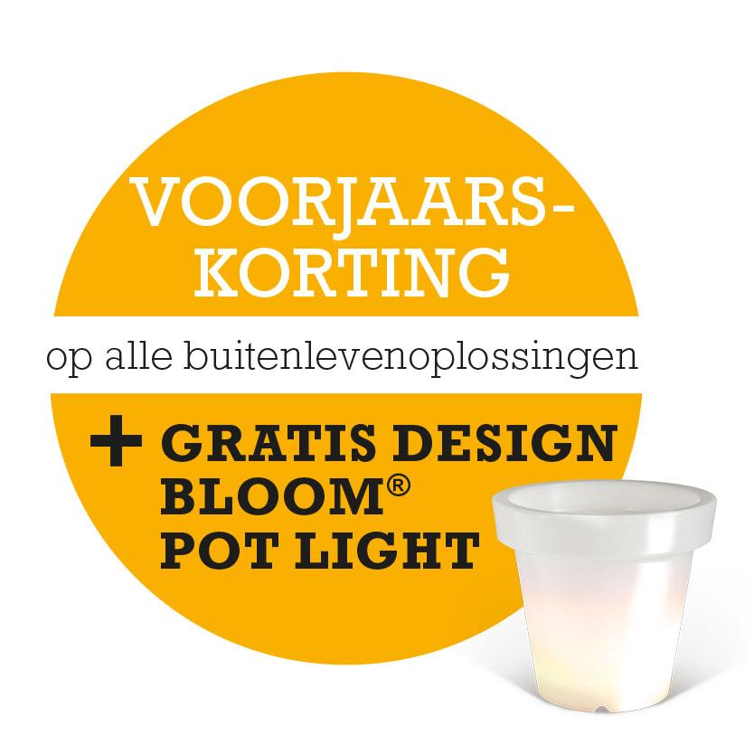 Geniet van 5% korting op alle Harol buitenleven artikelen en ontvang een gratis design Bloom® Pot Light!